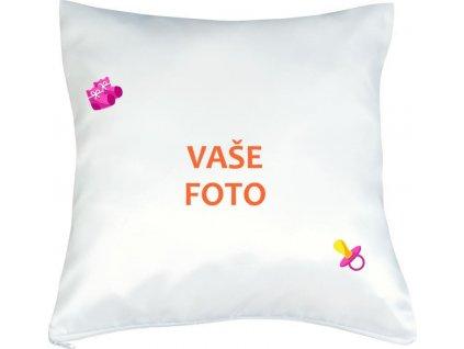 Vankúš s fotkou rámik CUMLÍK ružový 40x40 cm FOTOpošta