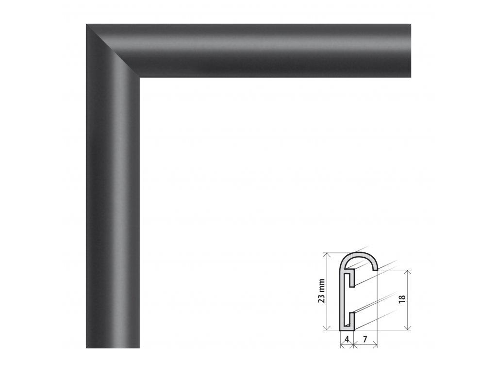 Fotorámeček 50x50 cm ALU černá (Plexisklo antireflexní (eliminuje odrazy a odlesky))