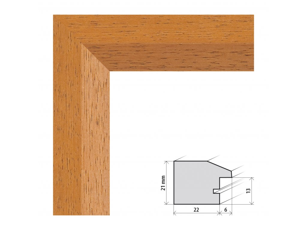 Fotorámeček 40x40 cm Dresden buk s plexisklem (Plexisklo čiré)