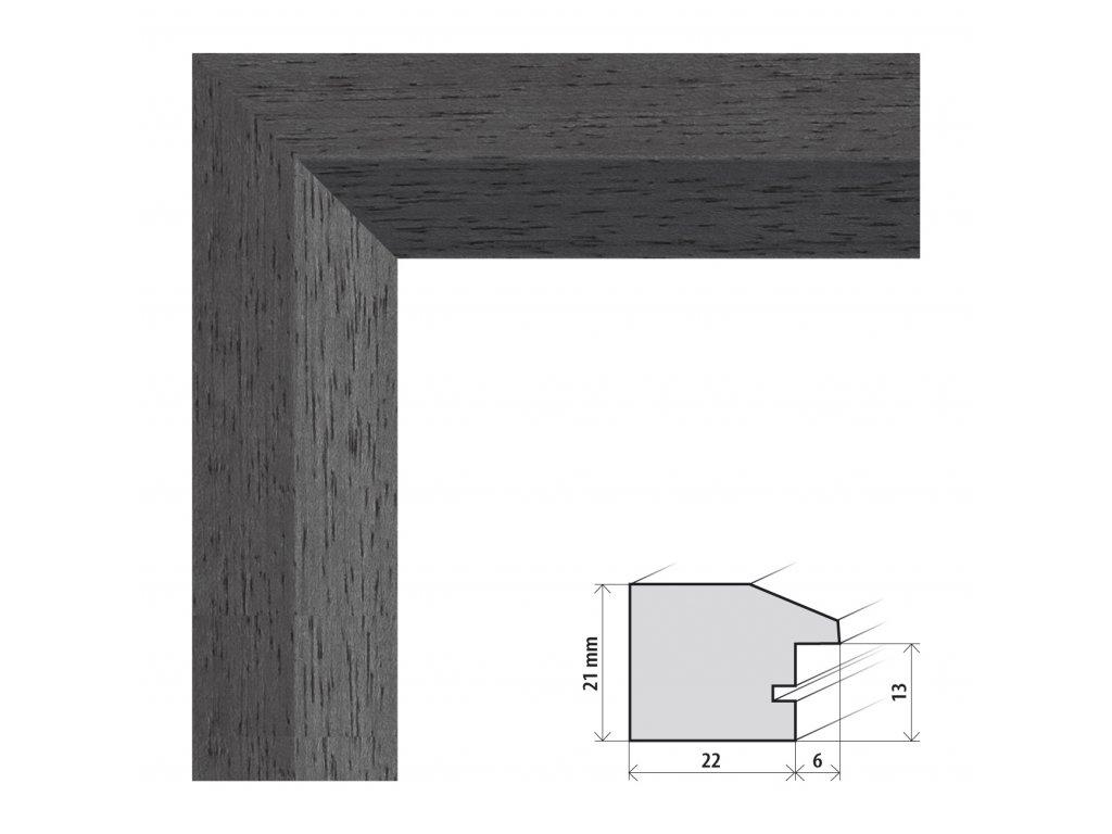 Fotorámeček 13x18 cm Dresden černá s plexisklem (Plexisklo čiré)