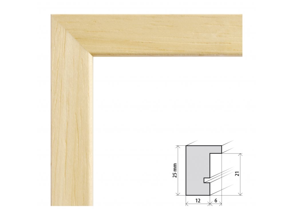 Fotorámeček 9x13 cm Kiel přírodní s plexisklem (Plexisklo čiré)
