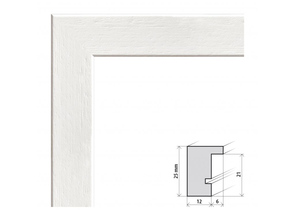 Fotorámeček 18x24 cm Kiel bílá s plexisklem (Plexisklo čiré)