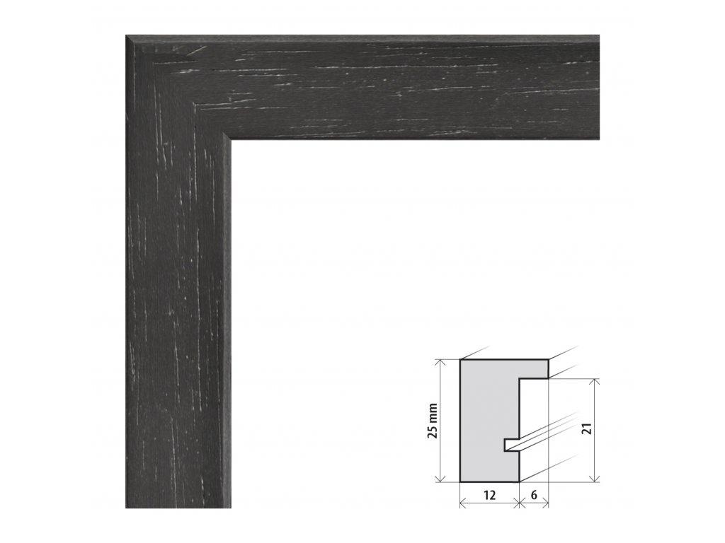Fotorámeček 24x30 cm Kiel černá s plexisklem (Plexisklo čiré)