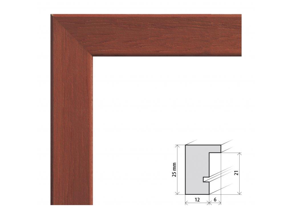 Fotorámeček 50x50 cm Kiel třešeň s plexisklem (Plexisklo čiré)