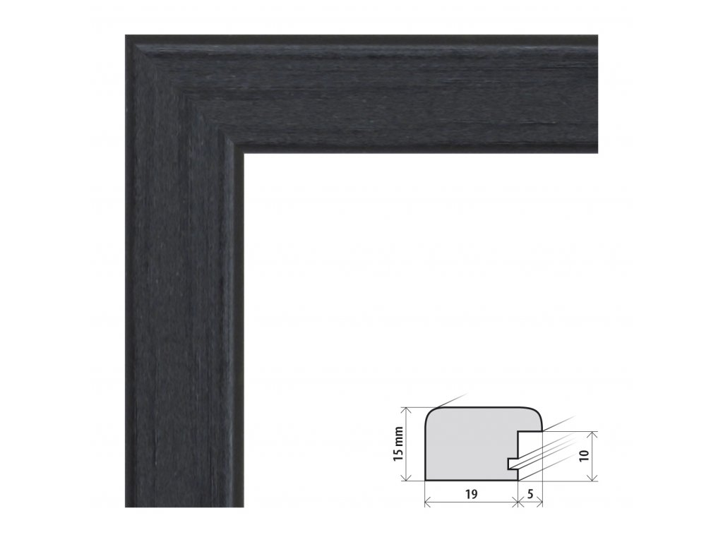 Fotorámeček A2 (42x59,4 cm) Modena černá s plexisklem (Plexisklo čiré)