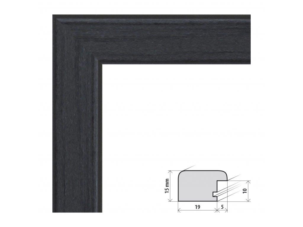 Fotorámeček 50x70 cm Modena černá s plexisklem (Plexisklo čiré)
