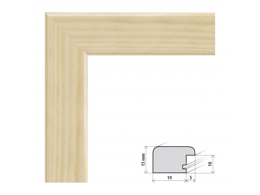 Fotorámeček 9x13 cm Modena přírodní s plexisklem (Plexisklo čiré)