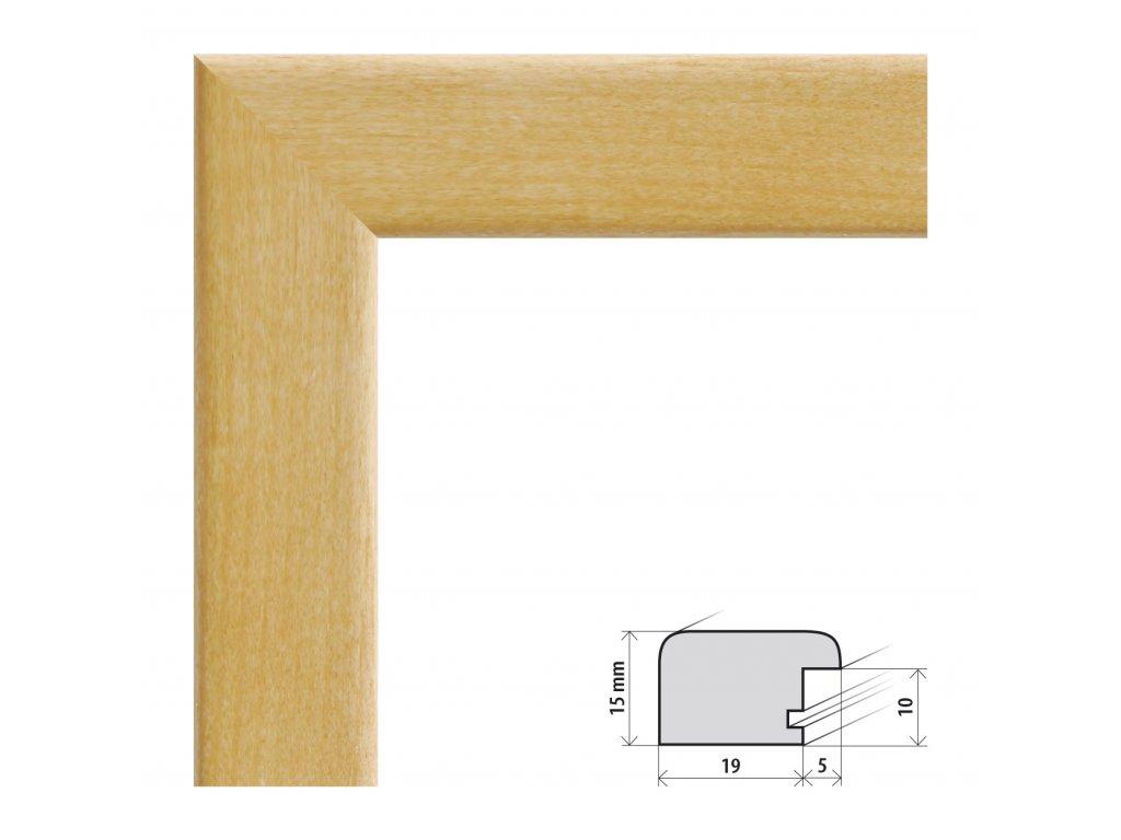 Fotorámeček 10x15 cm Modena buk s plexisklem (Plexisklo čiré)