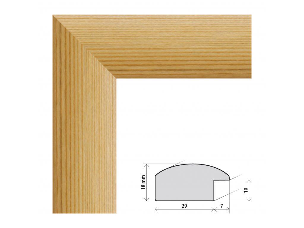 Fotorámeček 9x13 cm Palermo přírodní s plexisklem (Plexisklo čiré)