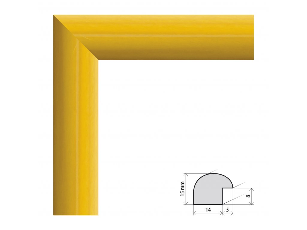 Fotorámeček 28x35 cm Roma žlutá s plexisklem (Plexisklo čiré)