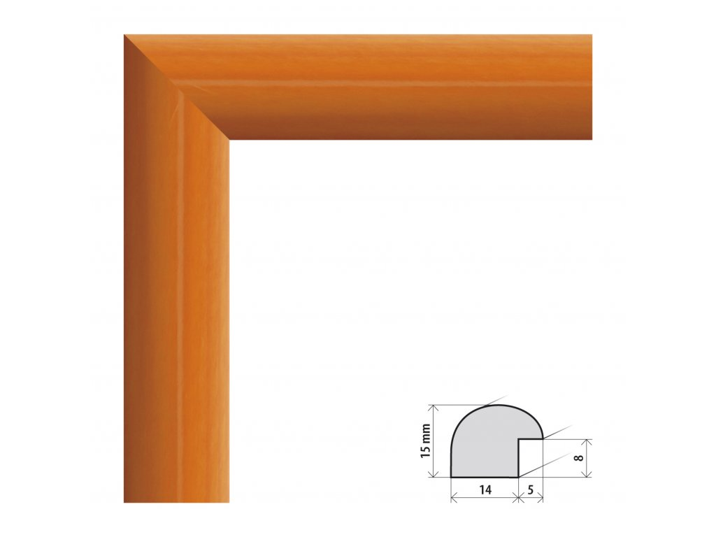 Fotorámeček A2 (42x59,4 cm) Roma oranžová s plexisklem (Plexisklo čiré)