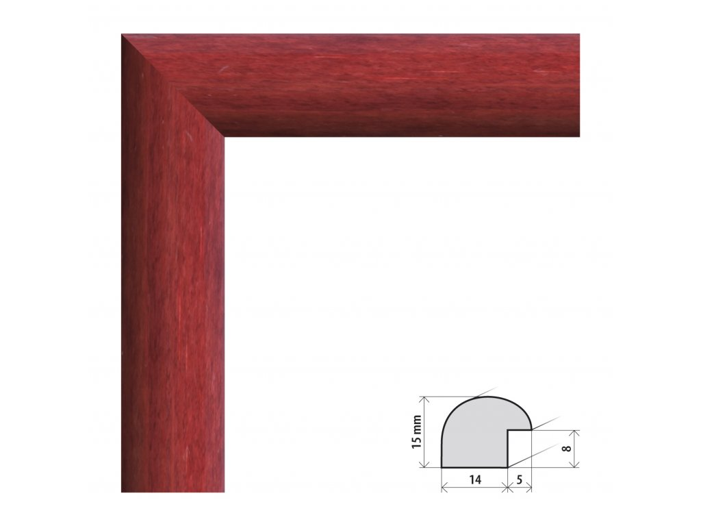 Fotorámeček 13x18 cm Roma tmavě červená s plexisklem (Plexisklo čiré)