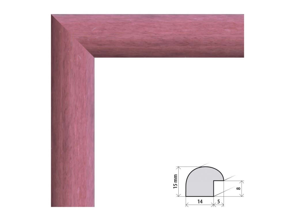 Fotorámeček 15x21 cm Roma růžová s plexisklem (Plexisklo čiré)