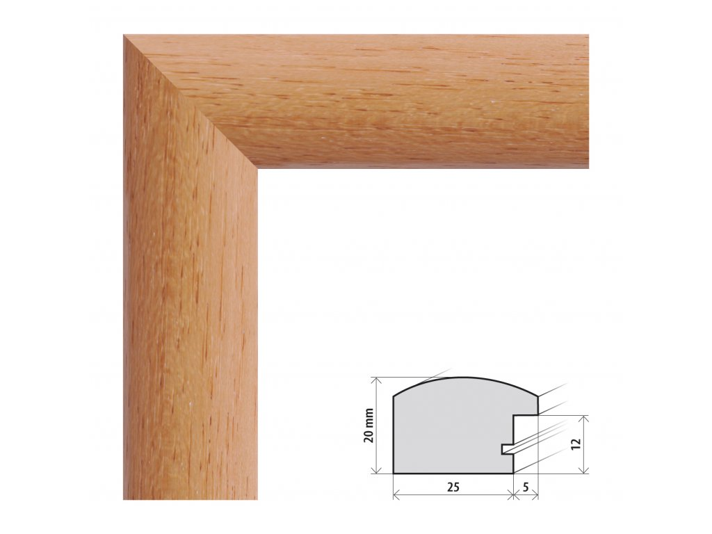 Fotorámeček 10x15 cm Parma buk s plexisklem (Plexisklo čiré)
