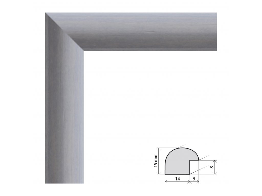 Fotorámeček 10x15 cm Roma šedá s plexisklem (Plexisklo čiré)