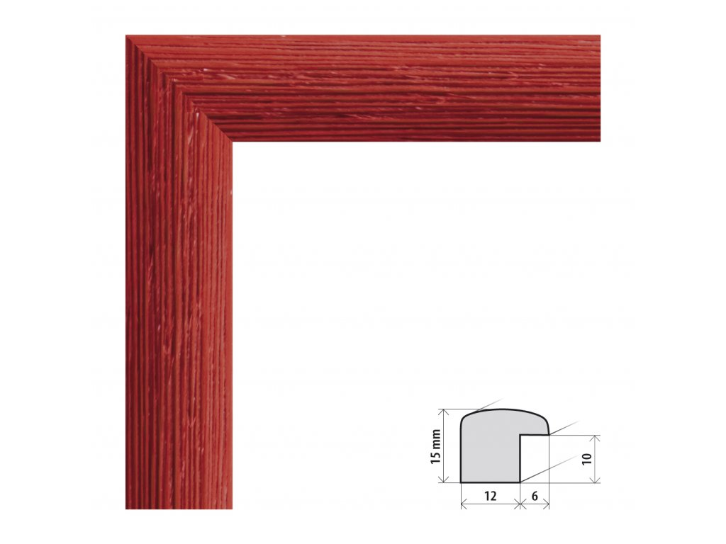 Fotorámeček 15x20 cm Samba červená s plexisklem (Plexisklo čiré)