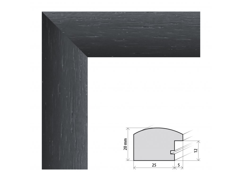 Fotorámeček 20x20 cm Parma černá s plexisklem (Plexisklo čiré)