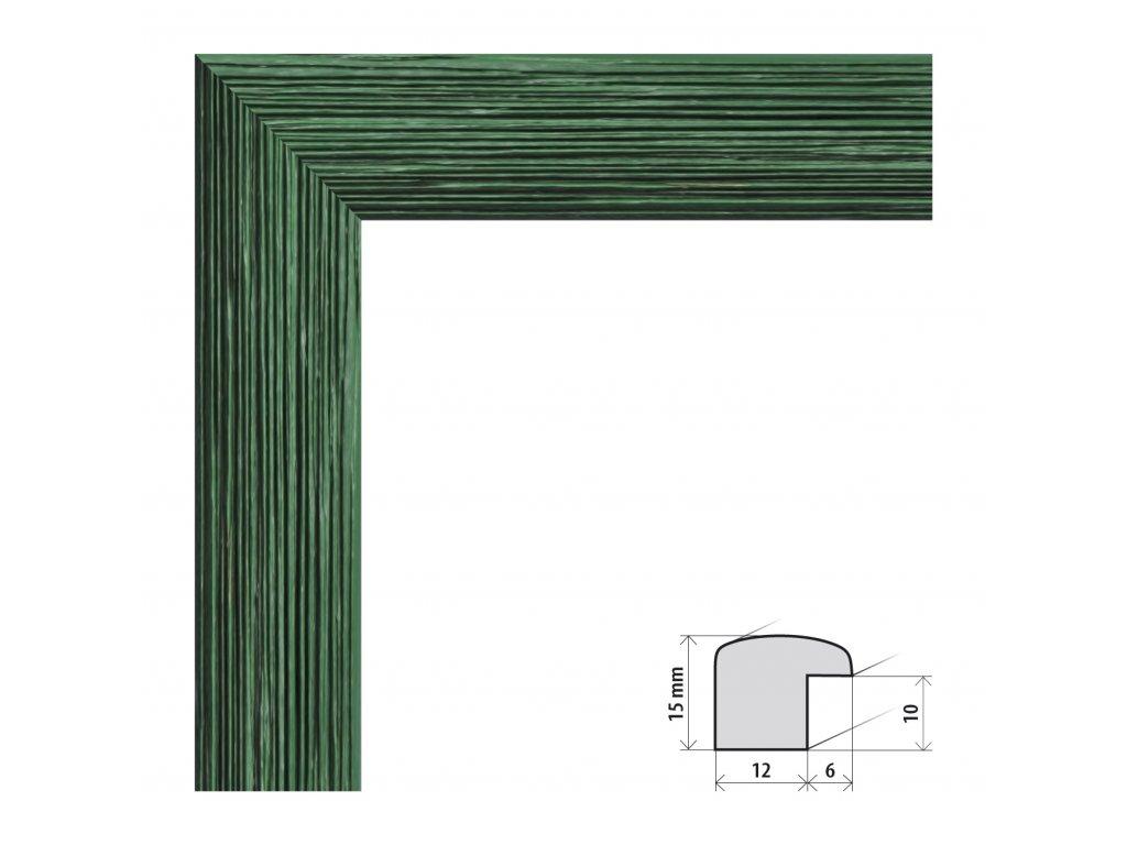 Fotorámeček 10x15 cm Samba zelená s plexisklem (Plexisklo čiré)