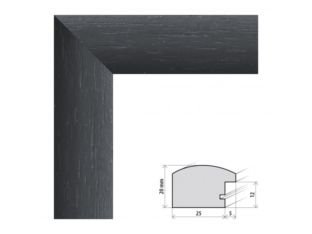 Fotorámeček 50x70 cm Parma černá s plexisklem (Plexisklo čiré)