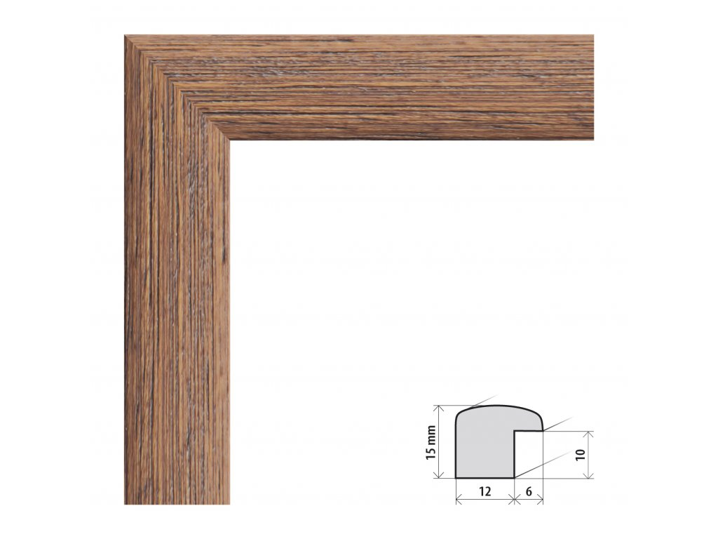 Fotorámeček 50x50 cm Samba tmavě hnědá s plexisklem (Plexisklo čiré)