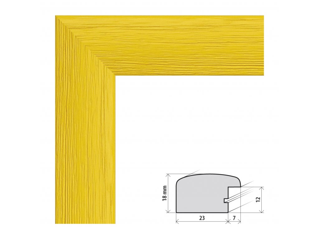 Fotorámeček 15x20 cm Rio žlutá s plexisklem (Plexisklo čiré)