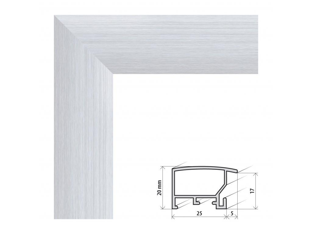 Fotorámeček 20x20 cm ALASKA stříbrná s plexisklem (Plexisklo antireflexní (eliminuje odrazy a odlesky))