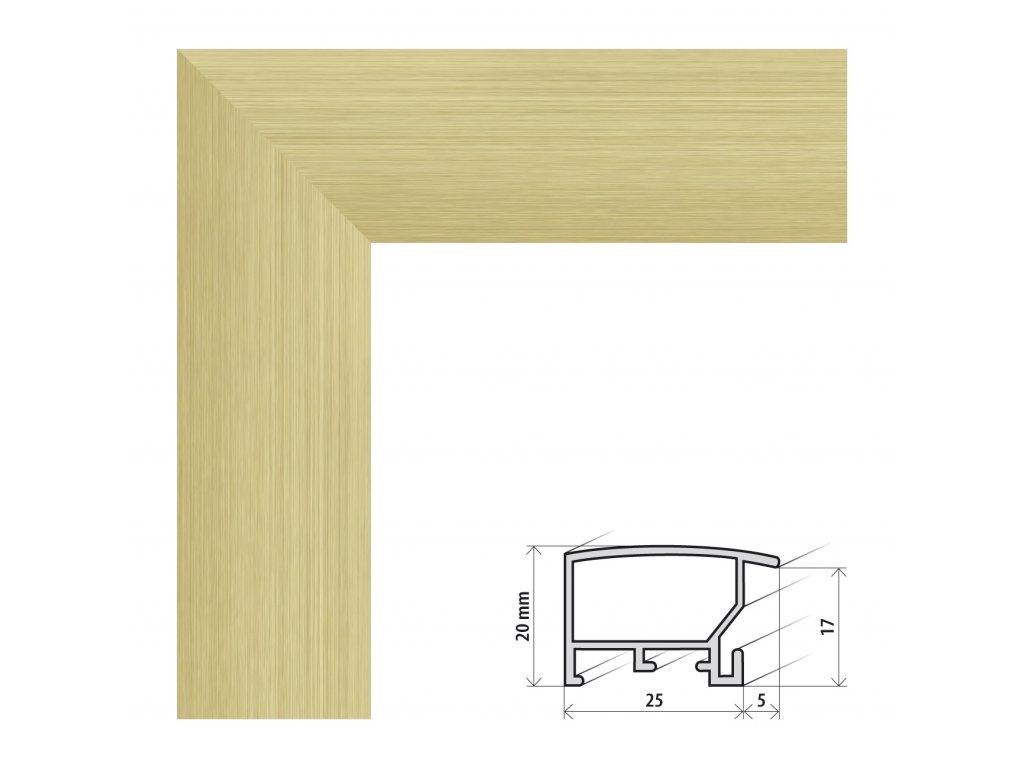 Fotorámeček 20x28 cm ALASKA zlatá s plexisklem (Plexisklo antireflexní (eliminuje odrazy a odlesky))