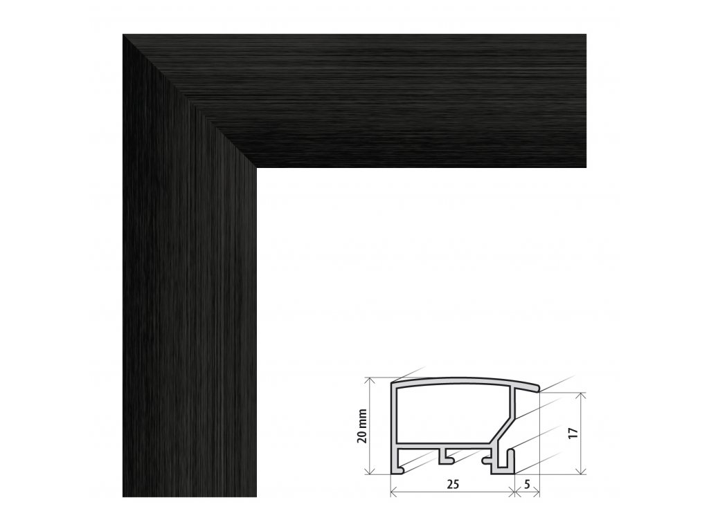 Fotorámeček 61x91,5 cm ALASKA černá s plexisklem (Plexisklo antireflexní (eliminuje odrazy a odlesky))