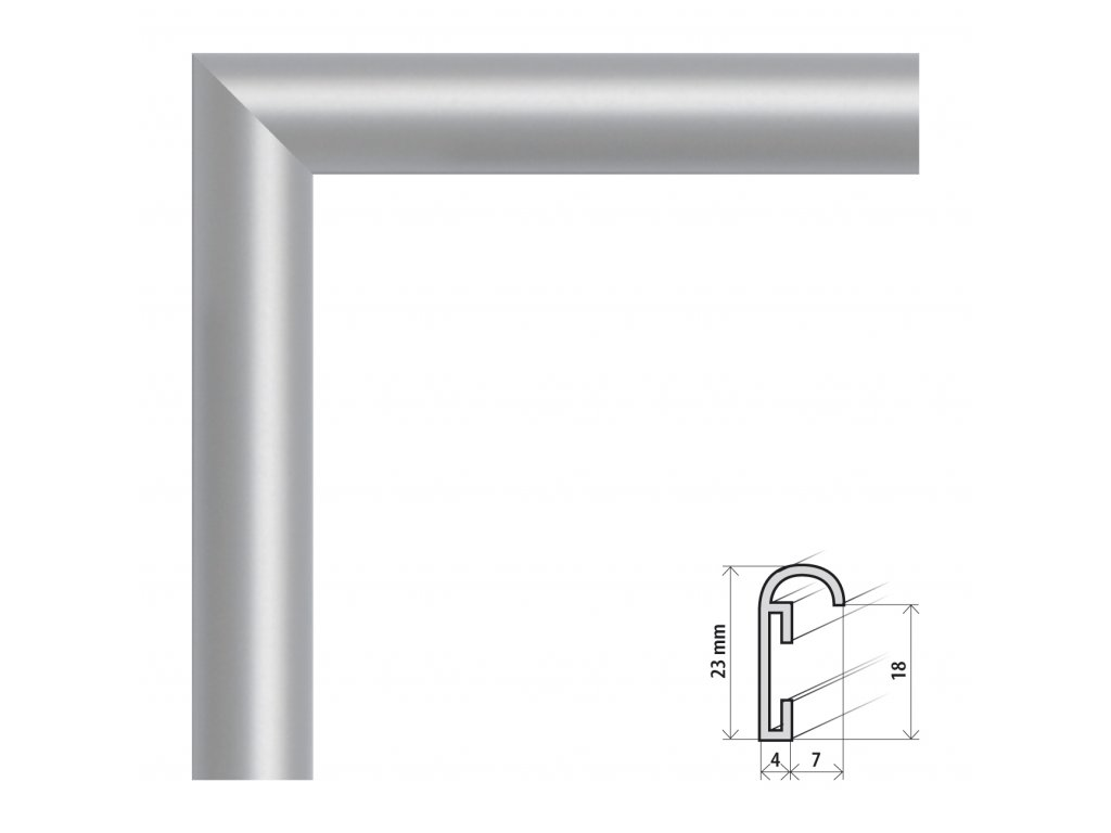 Fotorámeček 40x50 cm ALU stříbrná (Plexisklo antireflexní (eliminuje odrazy a odlesky))