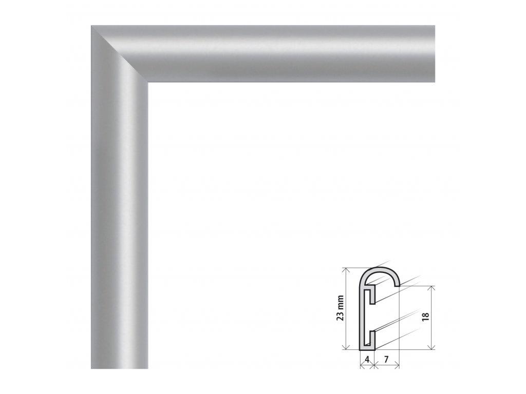 Fotorámeček 50x70 cm ALU stříbrná (Plexisklo antireflexní (eliminuje odrazy a odlesky))
