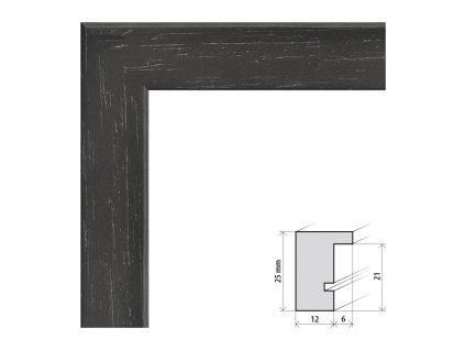 Fotorámeček 9x13 cm Kiel černá s plexisklem (Plexisklo čiré)