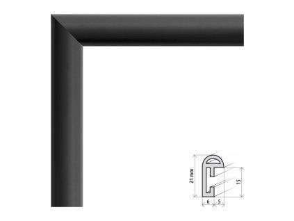 Fotorámeček 50x70 cm BF černá matná s plexisklem (Plexisklo čiré)