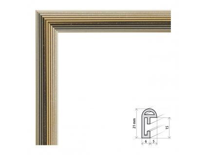 Fotorámeček 9x13 cm BF zlatý proužek s plexisklem (Plexisklo čiré)