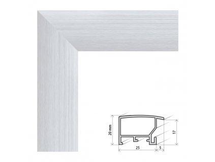 Fotorámeček 40x60 cm ALASKA stříbrná s plexisklem (Plexisklo antireflexní (eliminuje odrazy a odlesky))