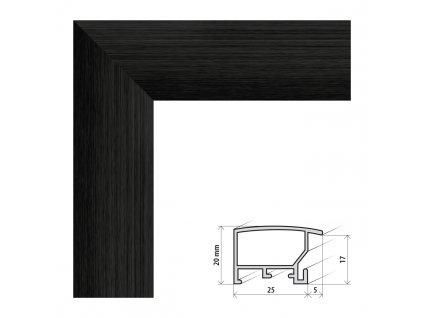 Fotorámeček 40x60 cm ALASKA černá s plexisklem (Plexisklo antireflexní (eliminuje odrazy a odlesky))