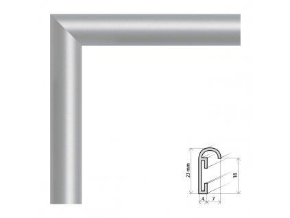 Fotorámeček 40x40 cm ALU stříbrná (Plexisklo antireflexní (eliminuje odrazy a odlesky))