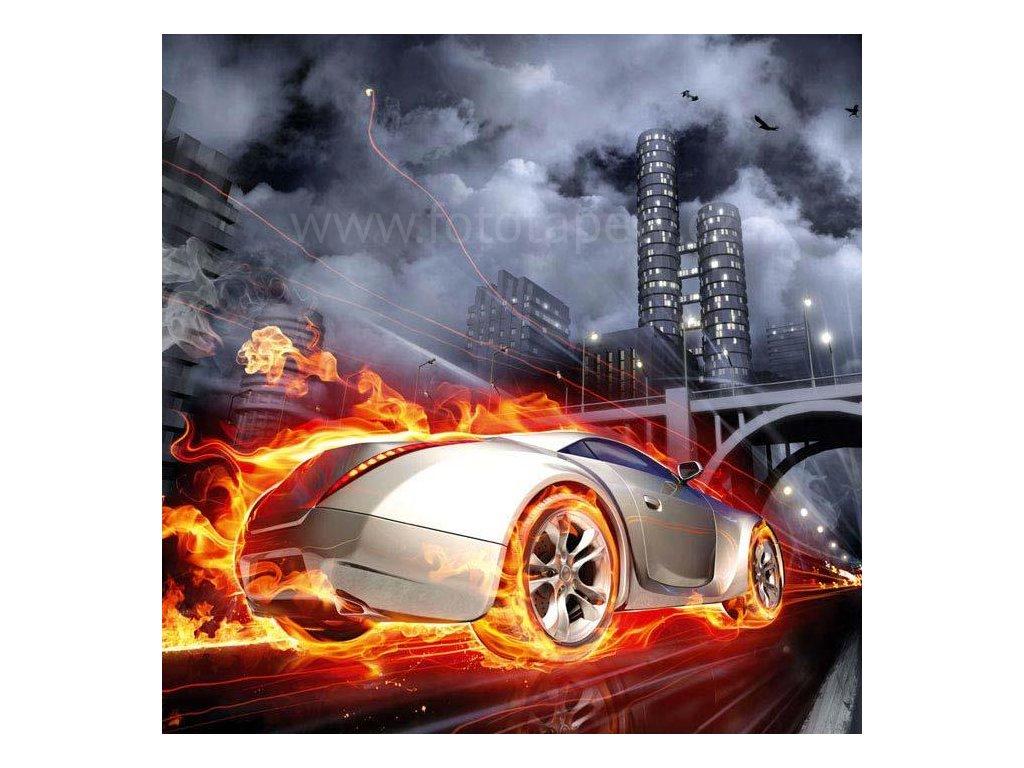 Samolepící fototapeta na podlahu - Auto v plamenech, 170x170cm, 012