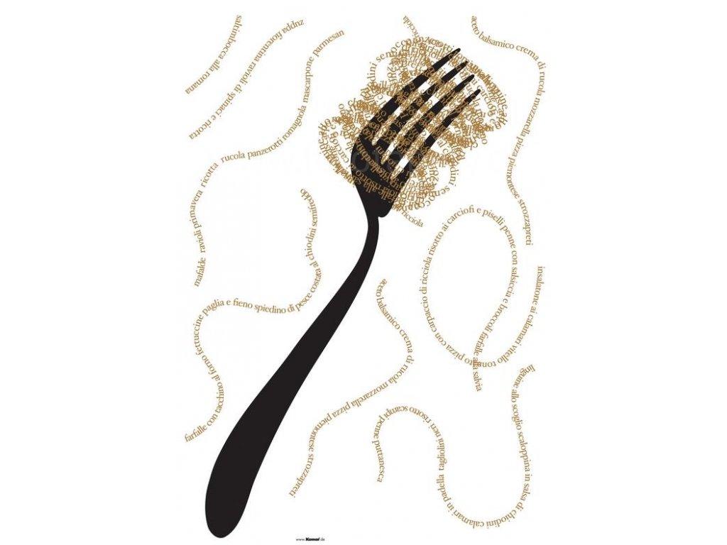 Samolepící dekorace Pasta - text & vidlička, 100x70cm