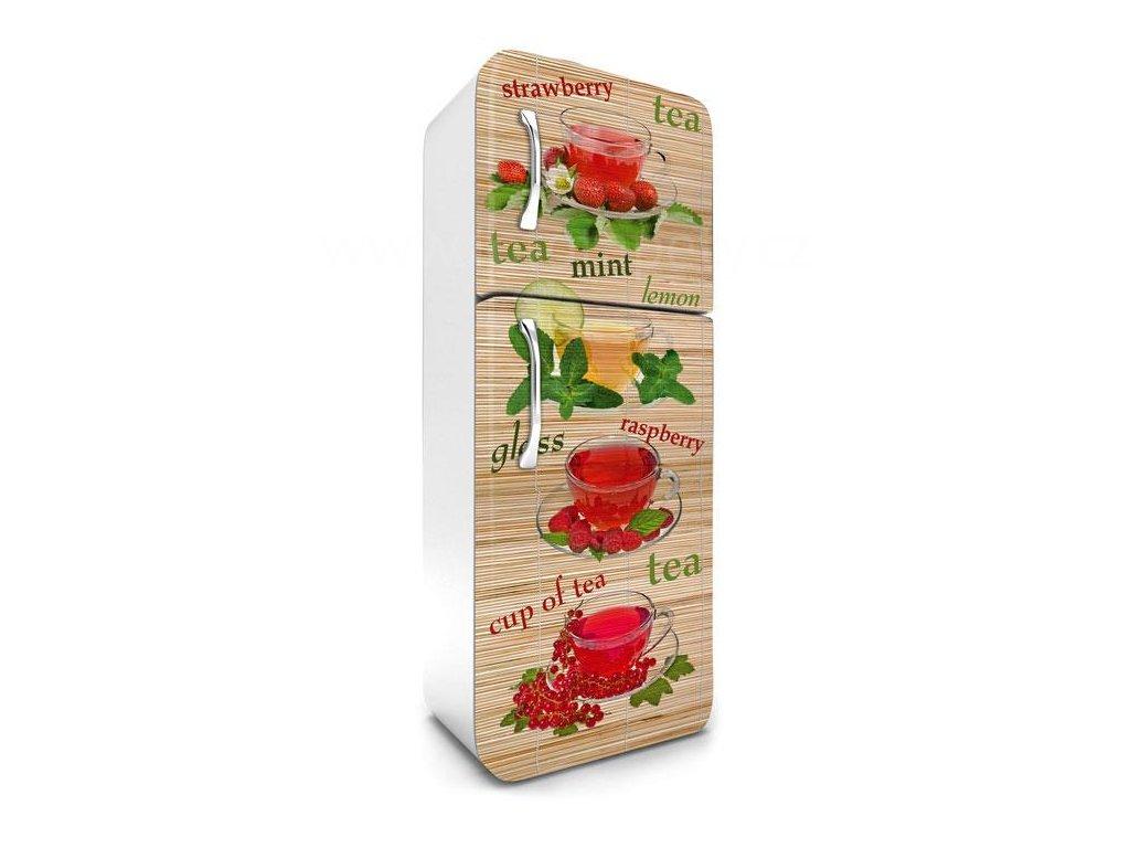 Samolepící fototapeta na lednici - Jahodový, citrónový čaj, 65x180cm, 021
