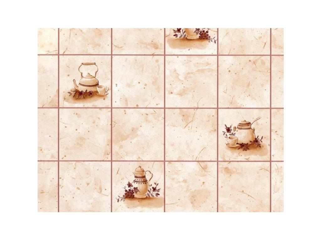 Samolepící folie d-c-fix imitace obkladaček - Konvičky béžové, rozměr obkladačky 9x9cm