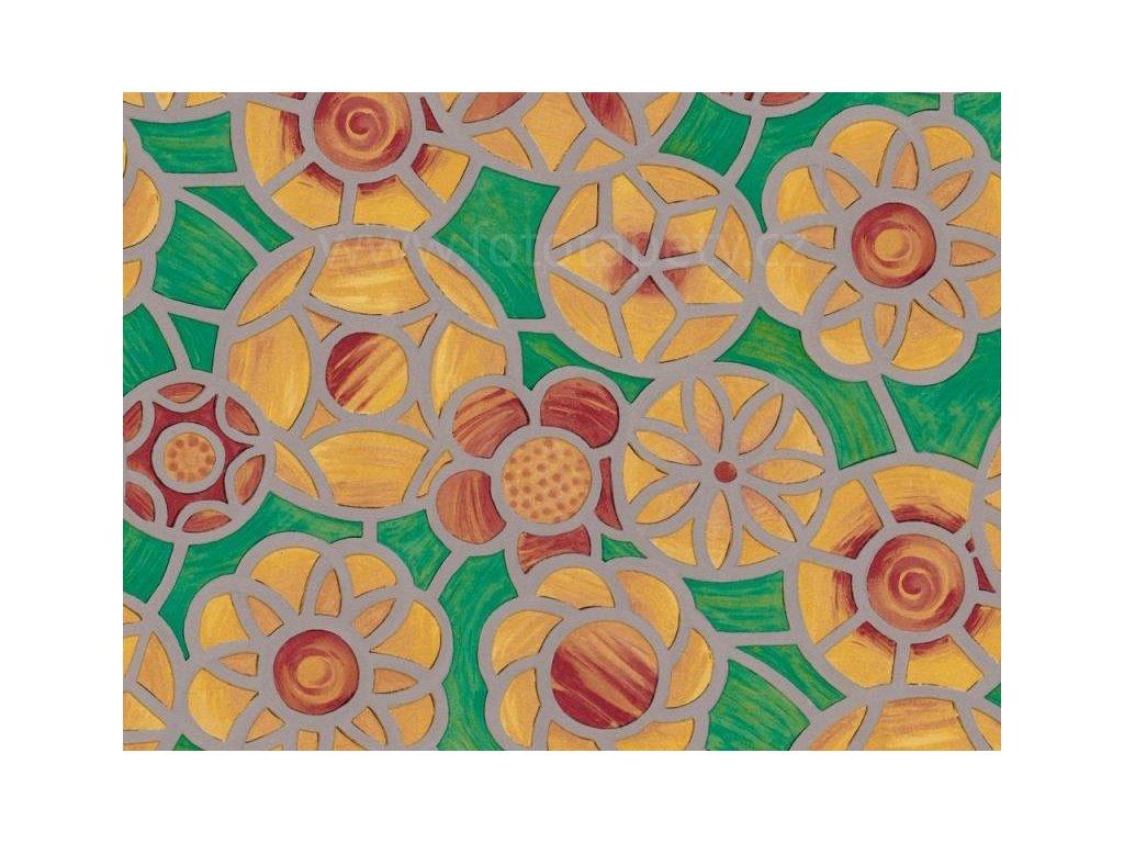 Barevná transparentní samolepící folie, Zeleno oranžová vitráž - doprodej