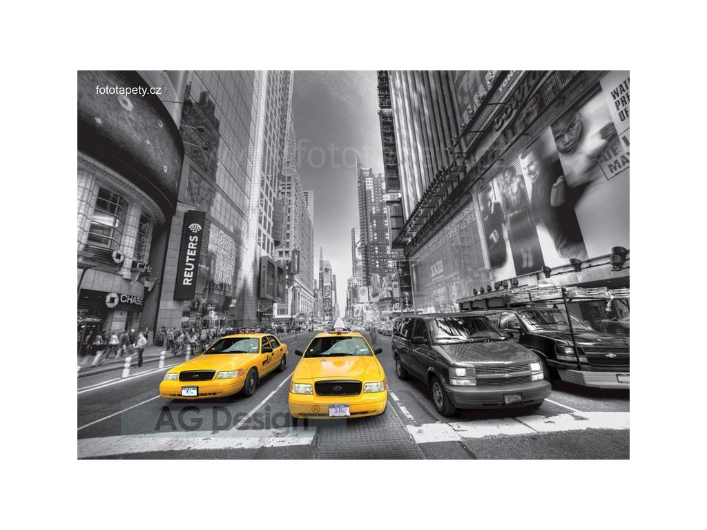 Čtyřdílná obrazová fototapeta Žluté taxi FTS 1310, rozměr 360 x 254cm