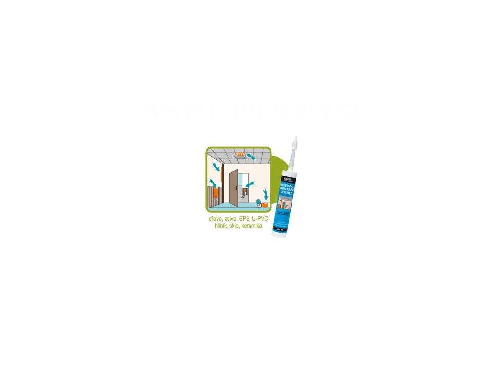 Univerzální montážní lepidlo pro soklové lišty, lemovky, dřevotřísku, MDF, OSB desky