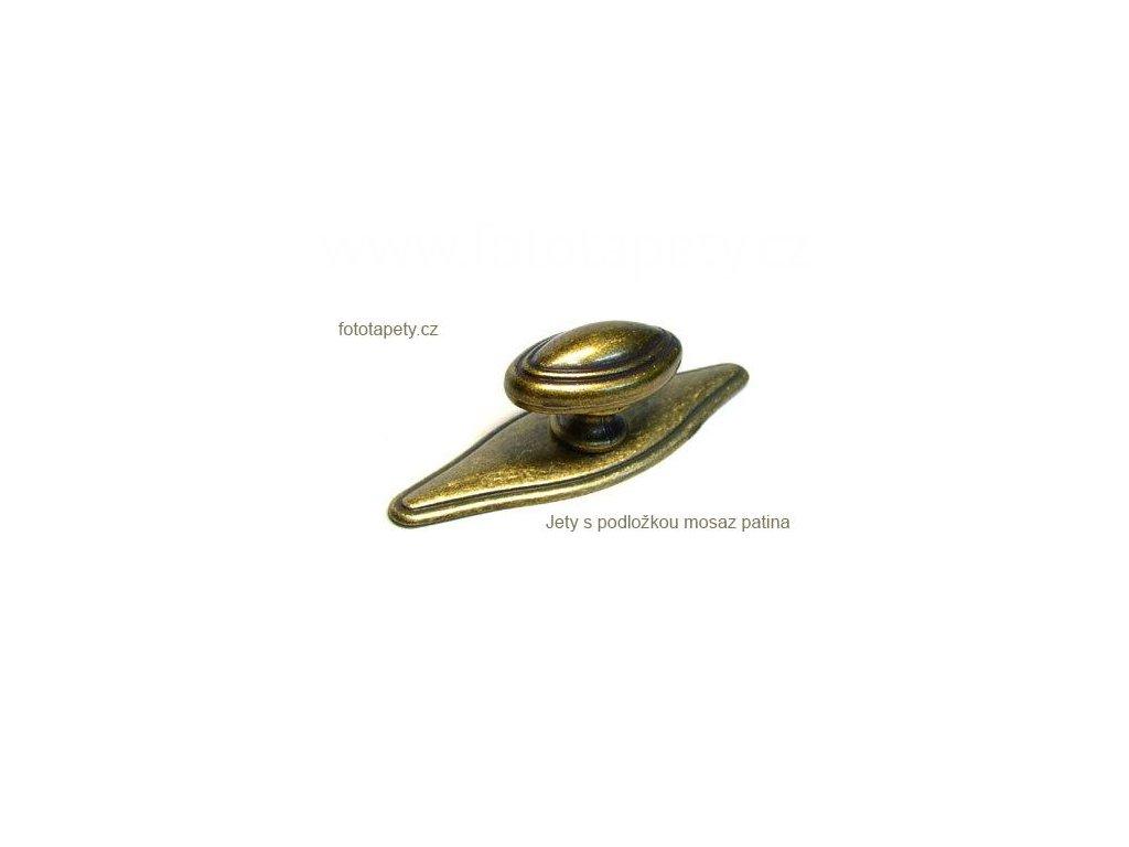 kovový knopek JETY s podložkou mosaz patina