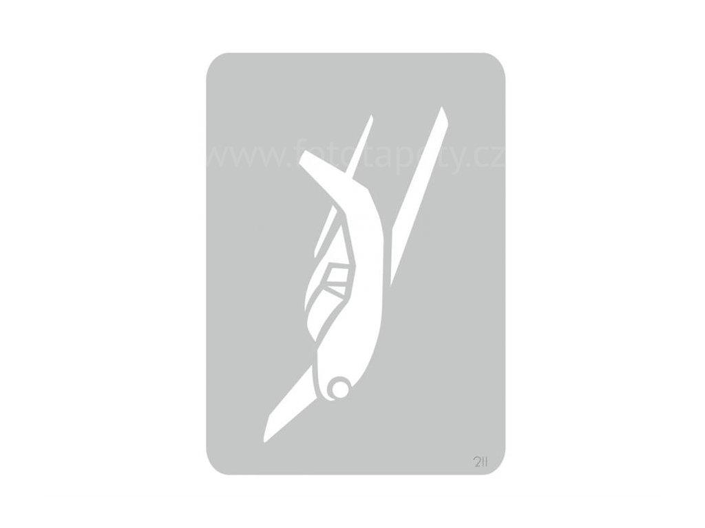 Malířská šablona Letadlo (Plane), 14,5x20,5cm, SAB211