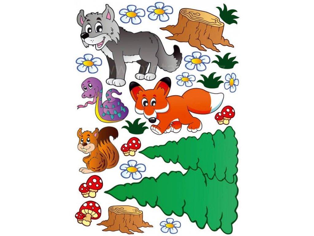 Dětská samolepící dekorace na zeď a nábytek - Zvířátka - liška, veverka, vlk, ST1 004, 50x70cm