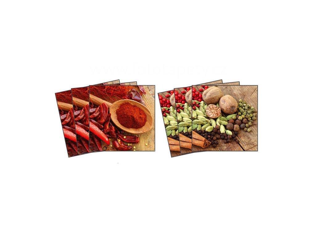 Dekorace na kachličky, vzor Koření - paprika, chilli, pepř, 15x15cm