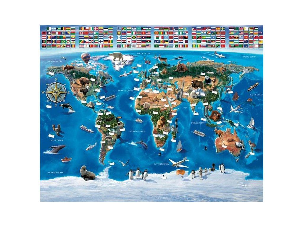 Dětská 3D fototapeta Mapa světa, rozměr 244 x 305 cm, skladem