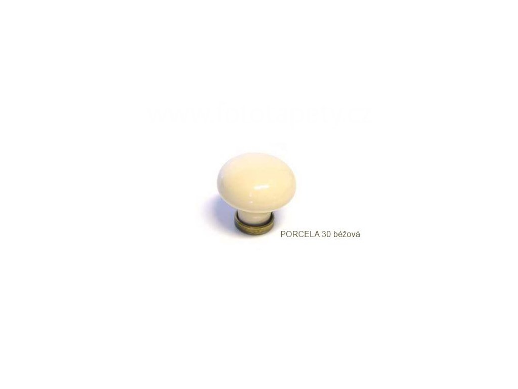 kovový knopek PORCELA 30 béžová + mosaz patina