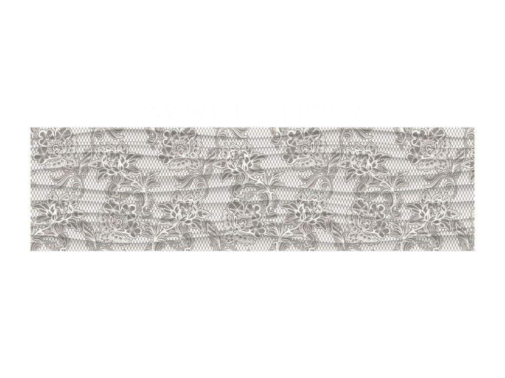 Samolepící bordura - Šedé květy, 14cm x 5m,  WB 8224